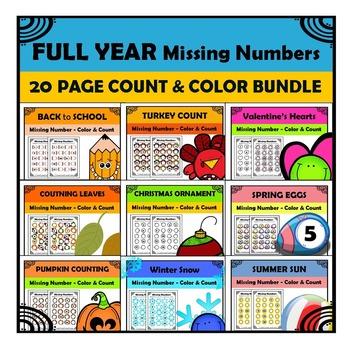 Kindergarten Math Patterns Missing Numbers FULL YEAR Bundle