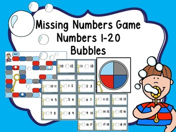 Missing Numbers Game Numbers 1-20 -Bubbles