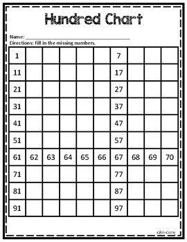 Missing Numbers: Hundred Charts (Free)