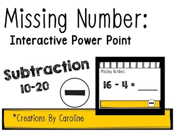 Missing Numbers Interactive Power Points: Subtraction 10-20