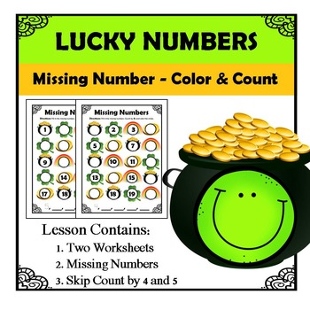Kindergarten Math Patterns - Missing Numbers - March