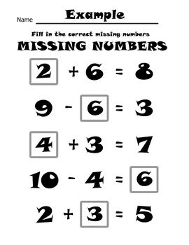 Missing Numbers Math Worksheets