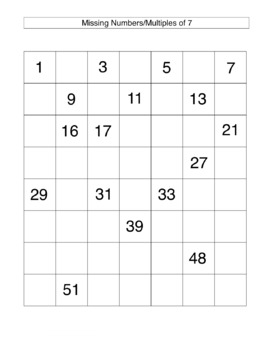 Missing Numbers Multiples of 7