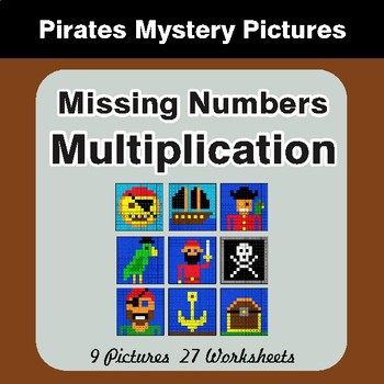 Missing Numbers Multiplication - Color-By-Number Math Mystery Pictures