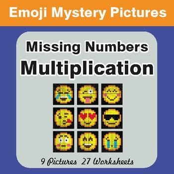 Missing Numbers Multiplication EMOJI Math Mystery Pictures