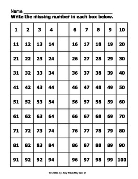 Missing Numbers - Number Lines and Hundreds Charts - Counting and Cardinality