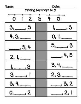 Missing Numbers Practice to 5, 10, and 20