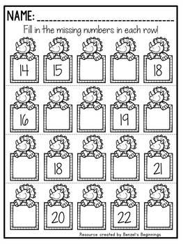 Missing Numbers Printables