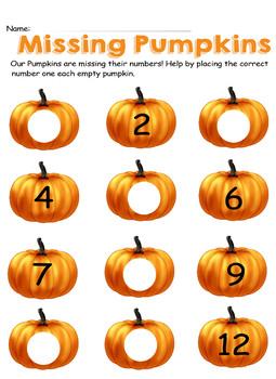 Missing Numbers-Pumpkin Fun
