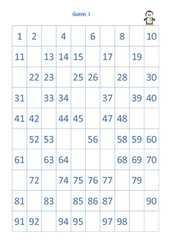 Missing Numbers Puzzle 1-100 Level 2
