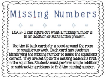 Missing Number Scoot BUNDLE (Addends and Subtrahend in Equations) 1.OA.D.8