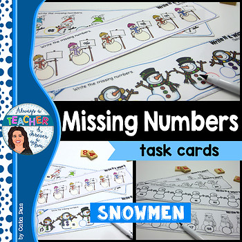 Missing Numbers - Snowman Edition Task Cards
