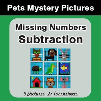 Missing Numbers Subtraction - Color-By-Number Math Mystery Pictures