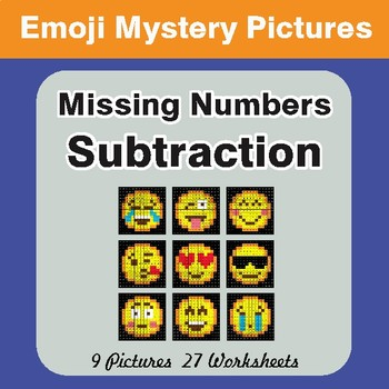 Missing Numbers Subtraction EMOJI Mystery Pictures