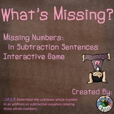 Missing Numbers Subtraction Interactive Game 1.OA.D.8
