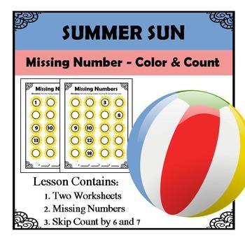 Kindergarten Math Pattern Recognition - Missing Numbers - Summer