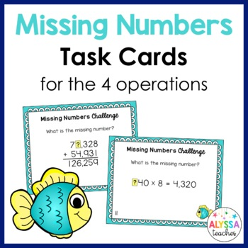 Missing Numbers Task Cards - Four Operations