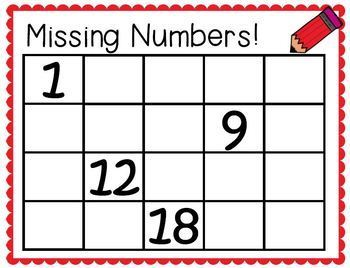 Missing Numbers Task Cards for numbers 1-20