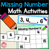 Missing Numbers Task Cards for numbers 1-20 Kindergarten Math Centers