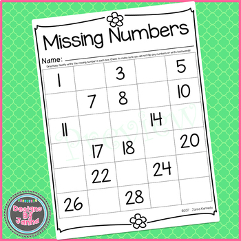 Missing Numbers To 30 Math Worksheet