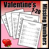 Missing Numbers - Valentine's Version Worksheets