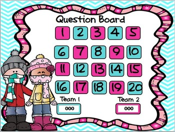 Missing Numbers in Addition & Subtraction PowerPoint game Winter Theme