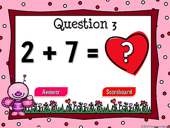 Missing Numbers in Addition Valentine's Day Powerpoint Game