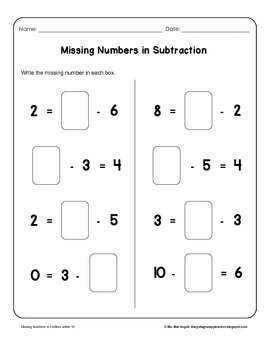 Missing Numbers in Addition and Subtraction