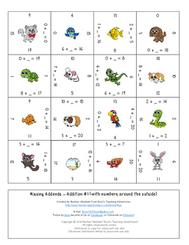 Missing Numbers in Equations Addition Math Center Games