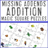 Unknown Numbers in Equations Activity: Missing Addends Addition Math Center Game