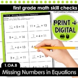 Missing Numbers in Equations - First Grade Print and Go