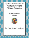 Missing Numbers in Equations Scavenger Hunt 3.OA.4 Third Grade Common Core Math