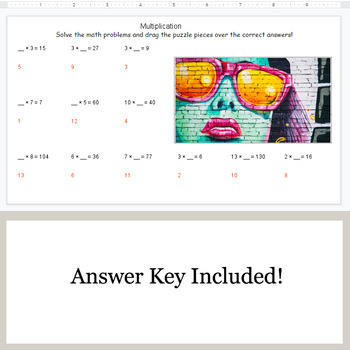 Missing Numbers in Multiplication - Google Slides - Art Puzzles
