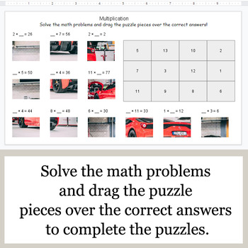 Missing Numbers in Multiplication - Google Slides - Car Puzzles