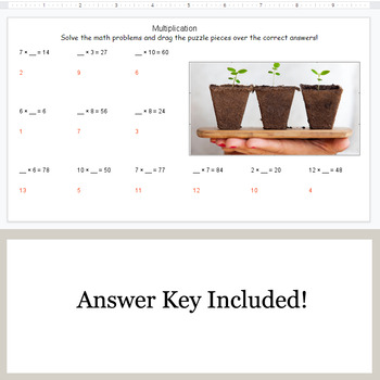 Missing Numbers in Multiplication - Google Slides - Earth Day Puzzles