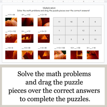 Missing Numbers in Multiplication - Google Slides - Halloween Puzzles