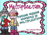 Missing Numbers in Multiplication PowerPoint game Winter Theme