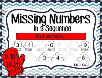 Missing Numbers in a Sequence (1-10 and 10-20); Hats & Mittens