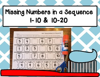 Missing Numbers in a Sequence (1-10 and 10-20); Dental Health