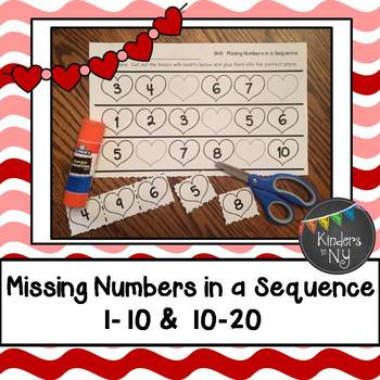 Missing Numbers in a Sequence (1-10 and 10-20; Common Core Aligned); Hearts