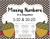Missing Numbers in a Sequence (1-10 and 10-20); {Fall} ; Common Core Aligned