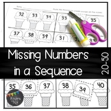 Missing Numbers in a Sequence (20-30; 30-40; and 40-50); Common Core Aligned