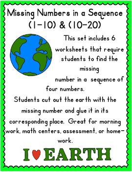 Missing Numbers in a Sequence; Earth Theme  (1-10) & (10-20); PreK, K, First