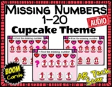 Missing Numbers to 20 - Cupcake Theme Boom Cards w/ AUDIO