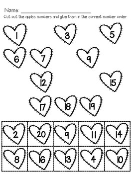 Missing Numbers to 20- Hearts