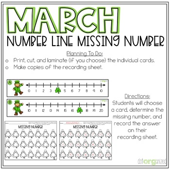 Missing Numbers to 20 Number Line Leprechaun Kindergarten March Math Center