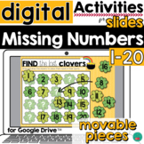 Missing Numbers to 20 St Patrick's Theme for Google Slides