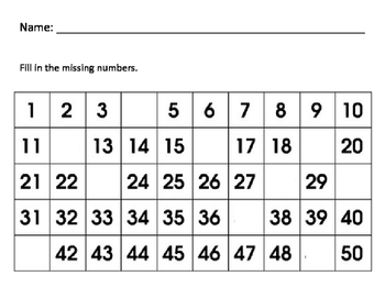 Missing Numbers to 50