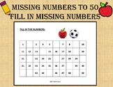 Missing Numbers to 50 Worksheets for kids (10 Printable Wo