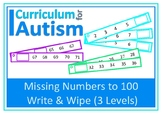 Missing Numbers to 100 Write Wipe Autism Special Education